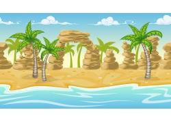 天空下的大海与沙滩背景设计