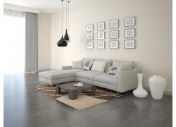 简约客厅装修3D渲染效果