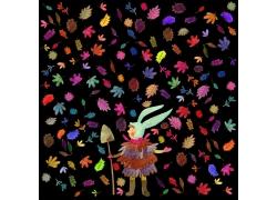 卡通兔子人物背景