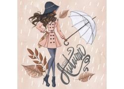 创意雨天人物背景