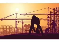 工地建筑与人物设计