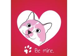 矢量爱心与宠物狗设计