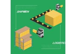 機器人自動倉儲插畫設計
