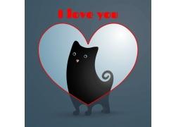 矢量宠物与爱心设计
