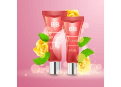 矢量化妆品与花朵设计