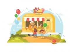 公园里的美食车与儿童设计