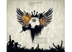 矢量翅膀与足球海报设计