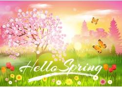 花树草地春天复活节海报