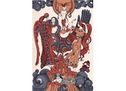 古典神话人物动物背景