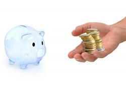储钱猪和男人手中金币