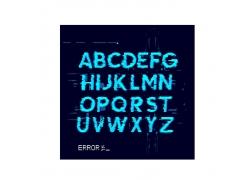 蓝色水墨字母