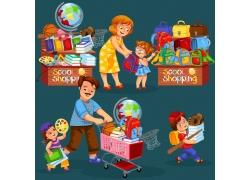 一堆学习用品和父母