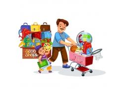 购物学习用品父女