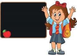 黑板背书小女孩