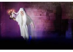 墙壁和白发魔女背景