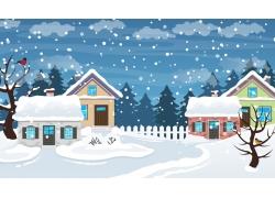 圣诞节雪屋雪花