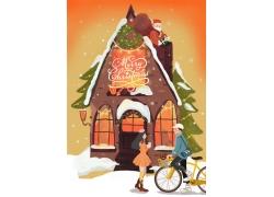 雪屋自行情情侣圣诞插画PSD