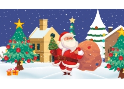 雪屋圣诞老人PSD插画
