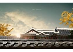 古典中式建筑树林风光