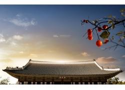 红色果子中式建筑风光