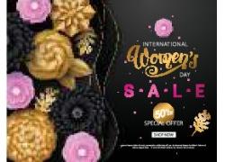粉色花朵黄色花朵女人节海报