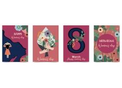 卡通美女花朵38女人节海报