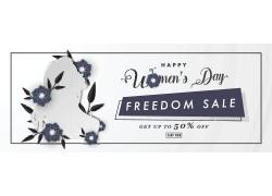 蓝色花朵女人节海报