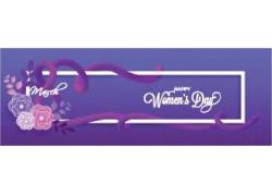 花朵飘带三八妇女节