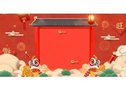 中式建筑红色背景