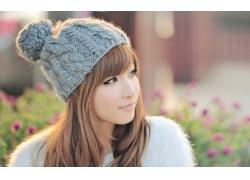 人,针织帽子,亚洲,户外的女人,背景虚化,妇女,模型,女帽,赤褐色的