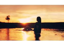 人,陽光,婦女,水,輪廓,太陽,戶外的女人,在戶外56428
