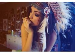 人,黑发,妇女,梅拉尼伊格莱西亚斯,头饰,羽毛,闭着眼睛,模型,面对