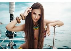 人,黑发,户外的女人,比基尼泳装,直发,500px的,妇女,船,长发,模型