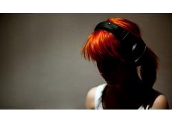 人,染过的头发,红发,妇女,海莉・威廉姆斯,帕拉莫尔,头戴耳机,简