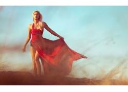 人,红色礼服,灰尘,妇女,模型,金发,黥,长发5116