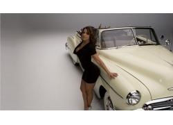 人,维达格拉,卡迪拉克,汽车,汽车的妇女,老旧的计时器,卷发,黑发,