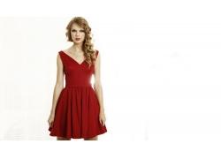 人,泰勒斯威夫特,名人,金发,歌手,红色礼服,妇女,白色背景,简单的