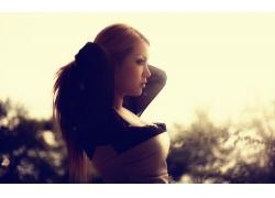 人,模型,简单的背景,户外的女人,面对,轮廓,长发67857