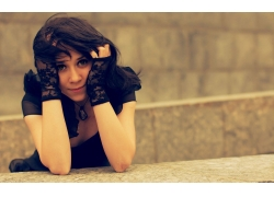 人,模型,简单的背景,黑发,妇女,面对,手套67788