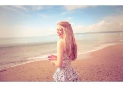 人,模型,连衣裙,海滩,金发,微笑,户外的女人,妇女,长发67779