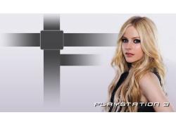 人,艾薇儿,金发,黑裙子,蓝眼睛,简单的背景,PlayStation 342655