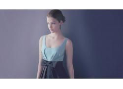 人,芭芭拉帕尔文,连衣裙,蓝眼睛,发弓,妇女,简单的背景,模型25599