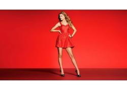 人,泰勒斯威夫特,名人,金发,妇女,露趾鞋,红色礼服68139