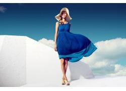 人,蓝色连衣裙,帽子,模型,时尚,云,有风,金发30147
