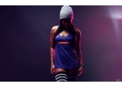 人,衬衫,针织帽子,黑发,妇女,模型,帽子65606