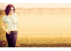 人,牛仔褲,蘇珊科菲,婦女,紅發,模型,陽光,背景虛化,愛,戶外的女