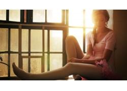 人,连裤袜,粉,自然光,妇女,马尾巴,窗口,模型70522