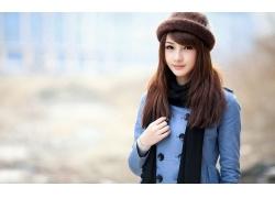 人,简单的背景,黑发,亚洲,帽子,妇女,模型,女帽,长发67773