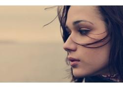 人,妇女,面对,黑发,模型,轮廓65788