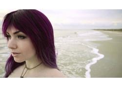 人,媚娃,海,砂,云,紫色的头发,妇女,业余,户外的女人,面对,海滩,